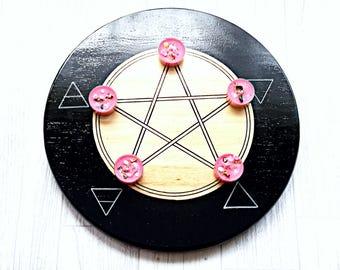 Elements pentacle altar tile, pentacle altar, black altar tille, pentagram altar, witchcraft altar, wiccan items