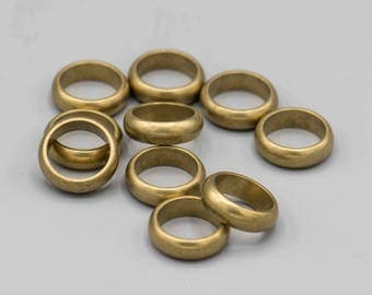 10 Vintage Brass Rings 16mm 14mm inner diameter
