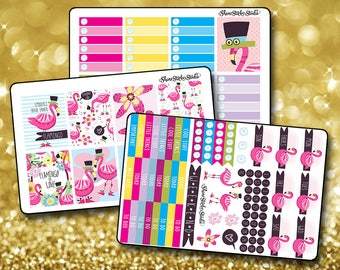 Fun Flamingo - Vertical Planner Stickers Erin Condren Life Planner  ECLP Summer Pink Flamingo Stickers Tropical Flamingo Stickers