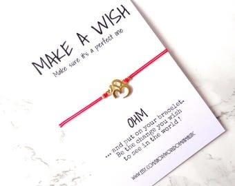 OHM yoga red string bracelet, yoga jewelry, dainty minimalist bracelet, simple everyday bracelet, Buddhism jewelry, make a wish bracelet