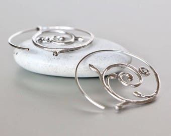 Egyptian Silver Hoops, Minimalist Spiral Silver Hoops,Pretty Ear Hoops, Silver Wire Hoops,Simple Hoops, Gift Ideas, Bohemian, E105