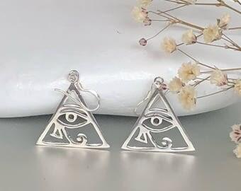 Egyptian Silver Eye Of Ra Earrings, Goodluck Earrings,Pretty Earrings, Ear Danglers, Simple Earings, Minimalist Ear Danglers Gifts, E198