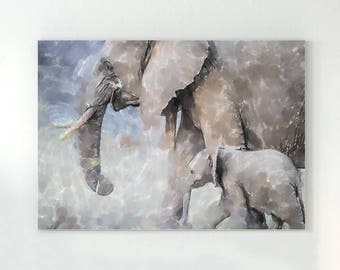 Elephant painting, elephant art, watercolor elephant, elephant nursery art, elephant wall decor, painting of elephant, baby elephants