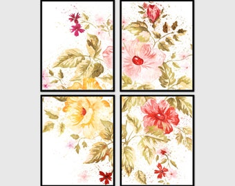 Watercolor flowers 4 set. Flowers poster 8x10