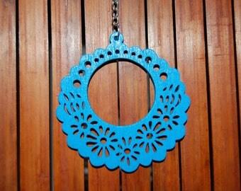 blue wooden Stud Earrings