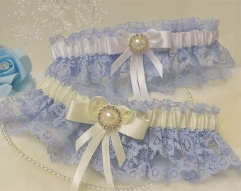 Bridal / Wedding Garter. Blue lace with White or Ivory satin trim. Diamante & pearl brooch detail.