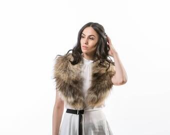 Fox Fur Collar ,Real Fox Fur, Neckwearing, Fur Shawl, Fur Scarf, Brown Fox Fur Scarf, Fox Fur Stole