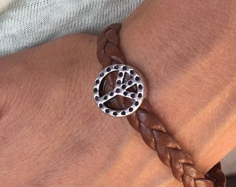 """Synthetic Brown braided leather """"love and peace"""" magnetic bracelet"""