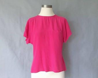 vintage silk blouse/ minimalist silk top/ silk shirt/ 80s silk top women's size S/M bright pink
