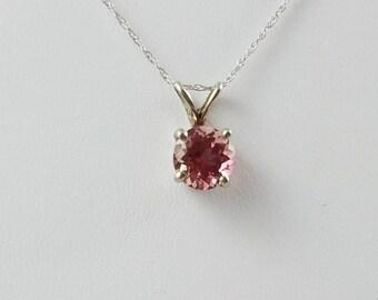 Handmade Pink Tourmaline Pendant Solitaire Pendant 14K White Gold Necklace
