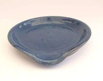 """Ceramic Spoon Rest, spoon holder, Pottery Soap Dish, glossy blue/bronze or navy, wheel-thrown stoneware, handmade, dia.approx.12cm/4.75"""""""