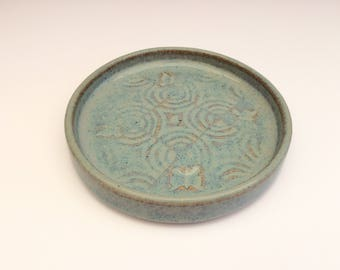 Ceramic Beverage/Drinks Coaster, stoneware, blue/bronze glaze, embossed pattern with butterfly, cork base, Artisan, studio pottery, In Stock