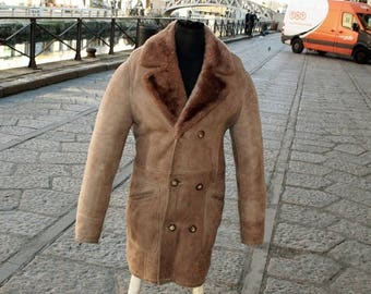 Lambskin trench coat double breasted shearling years 70 sz L