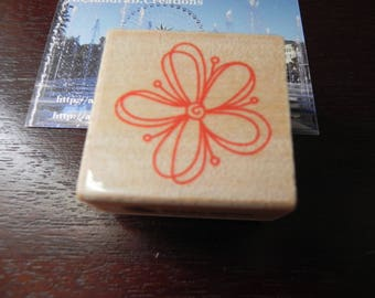 "A stamp ""flowers"" 40 mm X 40 mm wooden"
