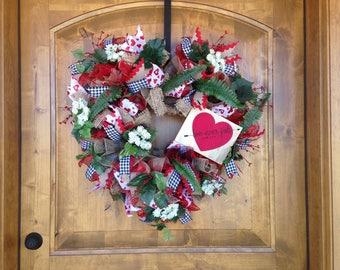 Valentine's Day Wreath, Deco Mesh Wreath, Front Door Wreath, Rustic Valentine Wreath, Love Never Fails Wreath, 1 Cor. 13:8 Wreath