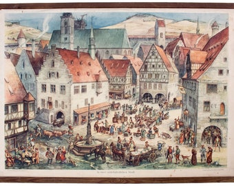 Medieval town, educational chart, 1932