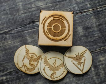 Pokemon Go All Teams wood (wooden) coasters, set of 6 (2 Mystic, 2 Instinct, 2 Valor) in PokeStop box
