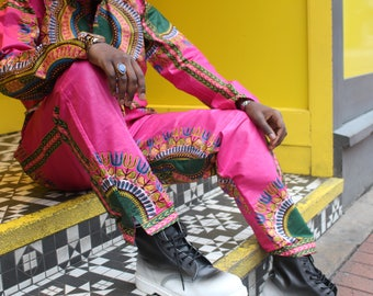 Mens Dashiki Trousers African Pants Mens African Fashion African Two Piece Wax Print Trousers Dashiki Clothing Festival Outfit Mens Joggers