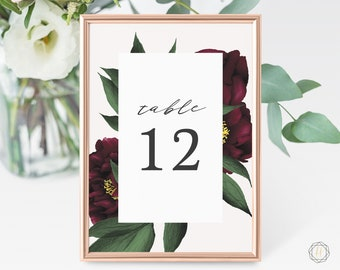 Wedding Table Numbers, Table Numbers, Marsala Table Number, Burgundy Wedding, Rustic Wedding Decor, Table Number Card, Marsala Wedding, #BPS
