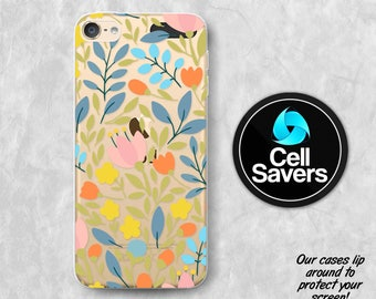 Floral Pattern Clear iPod 5 Case iPod 6 Case iPod 5th Generation iPod 6th Generation Rubber Case Gen Clear Case Flowery Pattern Wallpaper