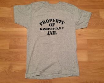 NEW Medium 80's Washington D.C. tourist T shirt men's heather gray Property of Washington DC Jail 1980's Screen Stars