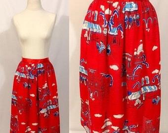 Back to School Sale Vintage Novelty Print Skirt, Paris Print, A-line Skirt