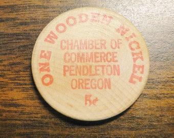 """Pendleton OR Wooden Nickel Token - Pendleton OR Pendleton Roundup Wooden Nickel Token - 1963 - 1 1/2"""" Diameter - Very Nice!"""