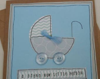 New baby card -baby boy- new parents-baby shower-baby congratulations-baby birth annoucement -brand new person-buttons -baby pram-kraft card
