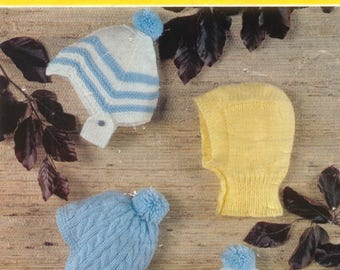 Vintage 'EMU Treasure 8592' baby knit boys hats pattern in pdf