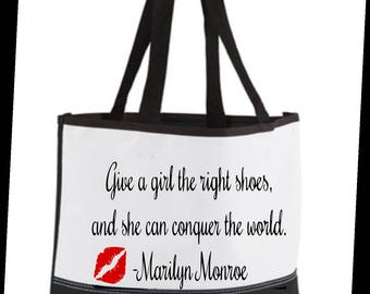 Marilyn Monroe inspired black and white tote bag/designer inspired tote bag/Marilyn Monroe inspired tote bag