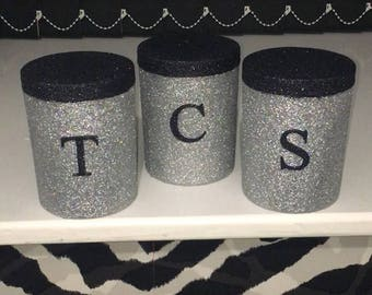 Glitter tea coffee sugar canisters - storage jars - caddy - containers - kitchen decor