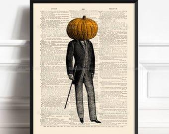 Pumpkin Head Poster, Pumpkin Head, Surreal Odd Weird, Teenager Gift, Gifts For Dad, Wall Art, Cool Halloween Decor 459