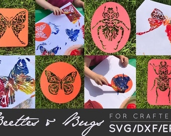 Butterfly SVG, Butterfly DXF, Beetle SVG, Beetle Cut File, Moth svg, Butterfly Clipart, Beetle Clipart, Creepy Crawly Clip Art, Cut Files
