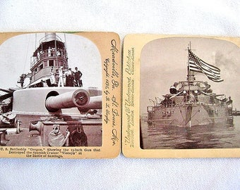 2 USS Oregon Battleship Stereoscopic Cards Spanish American War Stereoview Stereograph