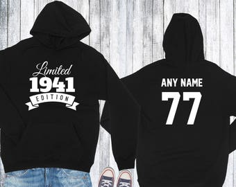 1941 Birthday Hoodie 77 Limited Edition Birthday Hoodie 77th Birthday Gift for Him Celebration Gift for Her Hoodie Birthday Gift 1941