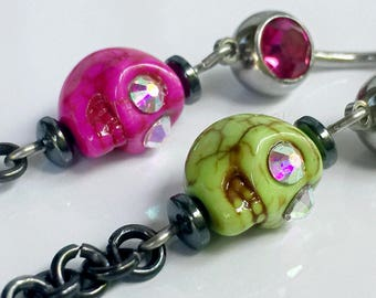 Belly Button Ring - Skull Head - Navel Piercing Jewelry