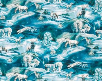 Winter's Majesty Digitally Printed Ice Scenic Cotton Fabric by Jody Bergsma for Robert Kaufman quilting cotton ABK1670688 Wolves wolf fabric