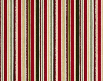 Metallic Christmas Classic Stripe by Henley Studio from Andover cotton fabric gold red yellow material quilting supplies