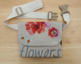 Rustic Poppy Belt Bag, Hip Purse, Bum Bag, Waist Bag, Money Belt, Flat Fanny Pack or Travel Wallet