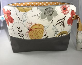 Floral Knitting Crochet Craft Zippered Project Bag
