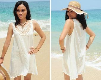 Short Dress, Mini Summer Dress, Off White Dress, Lace Dress, Sleeveless Dress, Resort Wear, Beach Dress, Cover up