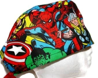 Tie back Marvel superhero men's surgical cap/ Scrub hat