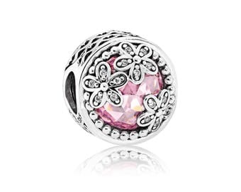 Authentic PANDORA Dazzling Daisy Meadow Charm, Pink & Clear Cubic Zirconia