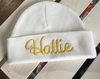 Monogrammed Infant Cap Newborn Embroidered Cap Personalized baby hat babyshower gift Coming Home Cap