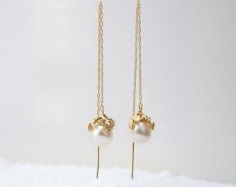 Gold and Pearl Earrings, Long Chain Earrings, Bridal Earrings, Romantic Earrings, Gold Earrings, Pearl Earrings, Threader Earrings
