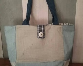 Jeans, cotton and linen fabric bag.