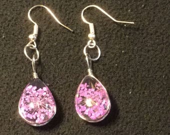 Teardrop Real Pink Pressed Flowers with Sterling Silver