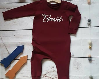 Baby romper, Toddler romper, baby boys romper, boys long sleeve, baby boys clothes, Personalised romper, long sleeve coverall, toddler long
