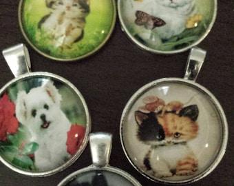 5 distorted animal glass cabochon pendants  destash  clearance #p3
