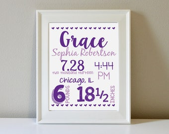 Personalized Birth Announcement Wall Art (Two Colors)